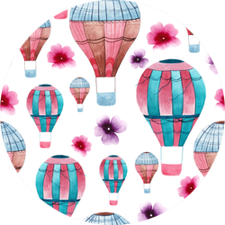 Cute Hot Air Balloon Flower Sticker