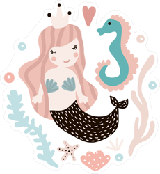Cute Illustration With Mermaid And Seahorse Sticker