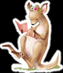 Cute Kangaroo Mom With Her Kid Reading Sticker