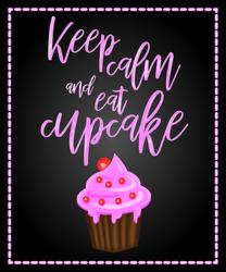 Cute Keep Calm And Eat Cupcakes Sticker