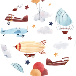 Cute Kids Watercolor Pattern Airplanes Sticker