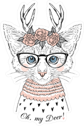 Cute Kitten with Deer Antlers and Roses Sticker