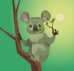 Cute Koala Character Eating Eucalyptus Leaves Sticker