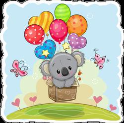 Cute Koala Flying with Balloons Sticker