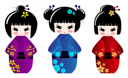 Cute Kokeshi Dolls Sticker
