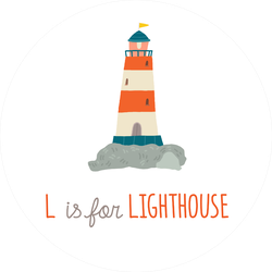 """Cute 'L"""" Is For Lighthouse Baby Shower Sticker"""
