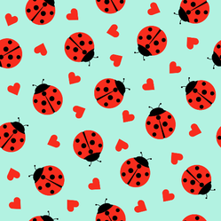 Cute Ladybug And Hearts Sticker