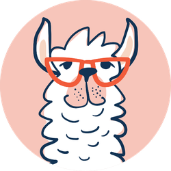 Cute Lama Face With Glasses Illustration Sticker