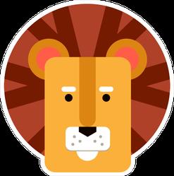 Cute Lion Head Illustration Sticker
