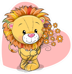 Cute Lion with Flowers Sticker