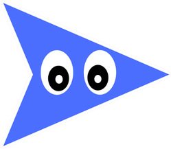Cute Little Blue Arrow Pointing In Right With Eyes Sticker