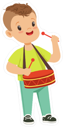Cute Little Boy Playing Drum Sticker