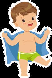 Cute Little Boy With Towel Sticker