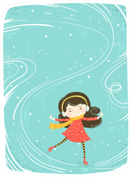 Cute Little Girl Skating On Ice Sticker