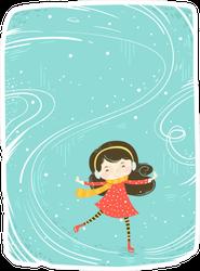 Cute Little Girl Skating On Ice Sticker