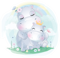 Cute Little Hippo Mother And Baby Sticker