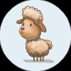 Cute Little Lamb On Blue Sticker