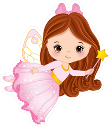 Cute Little Pink Fairy with Wand Sticker