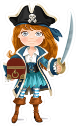 Cute Little Pirate Girl With Cutlass Sticker