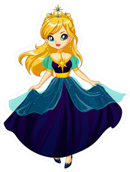 Cute Little Princess Cartoon Sticker