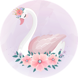 Cute Little Princess Swan With Flower Bouquet Sticker