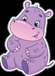 Cute Little Purple Hippo Sticker