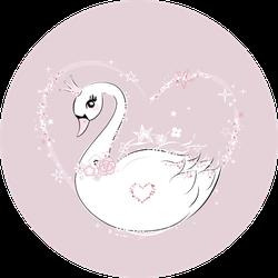 Cute Little Swan Princess And Heart Sticker