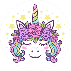 Cute Little Unicorn With Roses Sticker