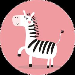 Cute Little Zebra On Pink Sticker