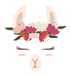 Cute Llama Head With Beautiful Flower Crown Sticker