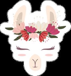 Cute Llama Head With Beautiful Flower Crown Sticker