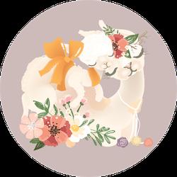Cute Llama In Flowers With Her Little Baby Llama Sticker