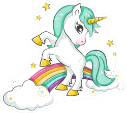 Cute Magical Unicorn And Rainbow Sticker
