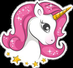 Cute Magical Unicorn and Stars Sticker