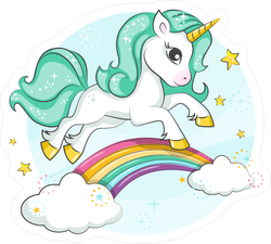 Cute Magical Unicorn On Rainbow Sticker