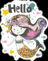 Cute Mermaid Under The Water Hello Sticker