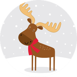 Cute Moose In Snow Sticker