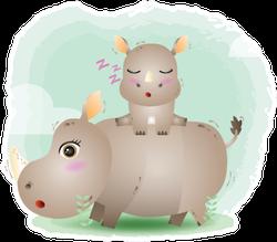 Cute Mother Rhino & Baby In Children's Style Sticker