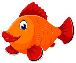 Cute Orange Fish Cartoon Sticker