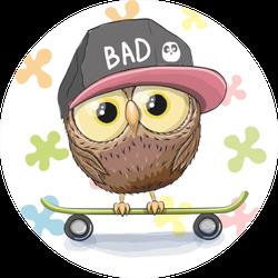 Cute Owl With Skateboard Sticker