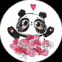 Cute Panda Bear In Flowers Sticker