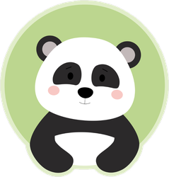 Cute Panda Bear On Green Circle Sticker