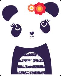 Cute Panda Bear With Flowers Sticker