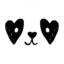 Cute Panda Face With Hearts Sticker