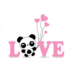 Cute Panda With Balloons Love Sticker