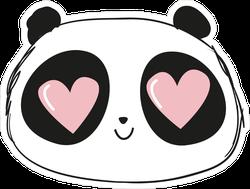 Cute Panda With Heart Eyes Sticker