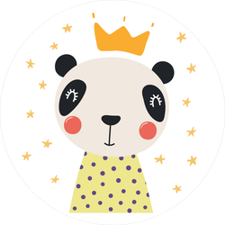 Cute Panda With Stars And Crown Sticker