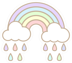 Cute Pastel Rainbow And Cloud With Rain Sticker