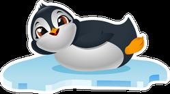 Cute Penguin Cartoon On Ice Float Sticker