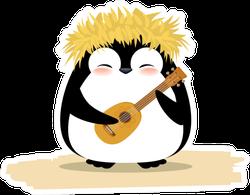 Cute Penguin In Hawaiian Yellow Grass Wreath And Ukulele Sticker